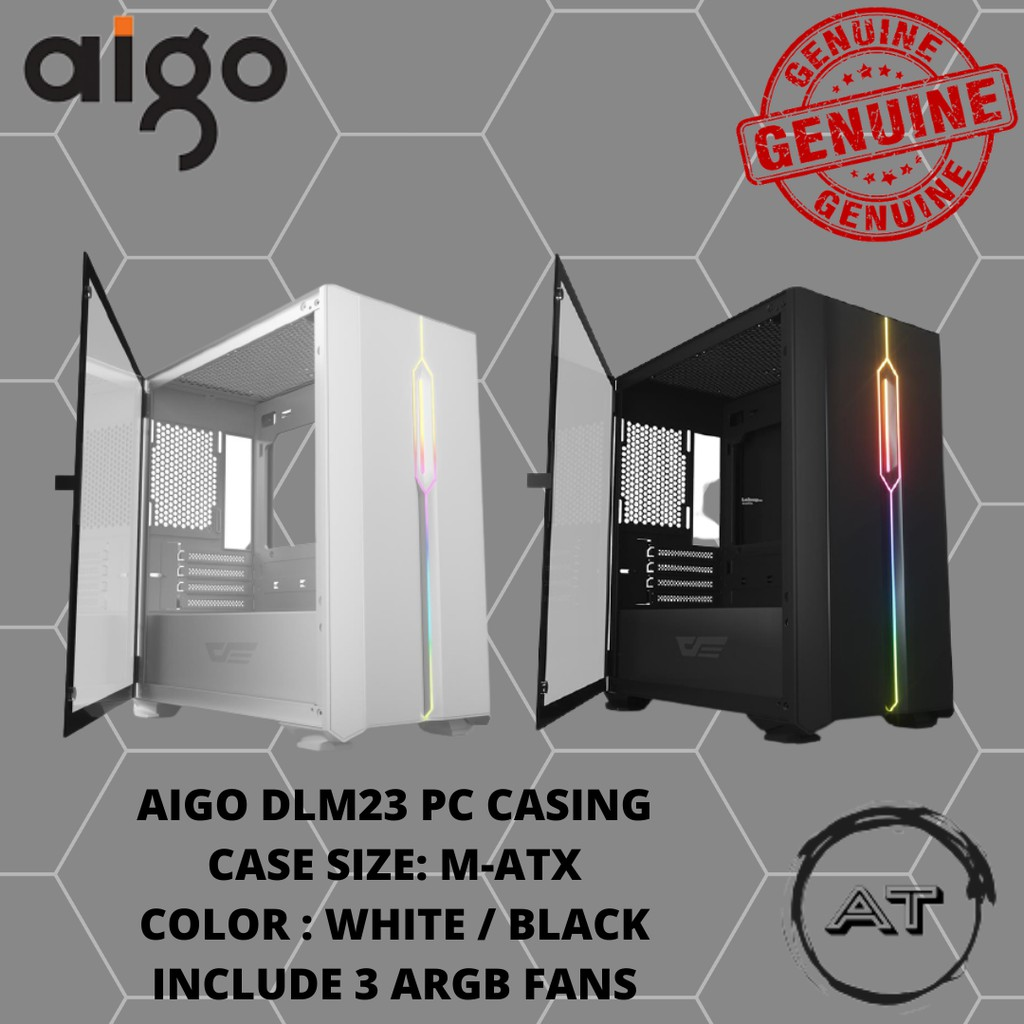AIGO DLM23 BLACK/WHITE  CASING (3 FANS)