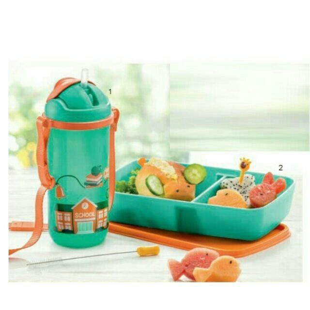 Tupperware Printable kids straw tumbler 500ml with Lolly Tup Kids Lunch Set(3)
