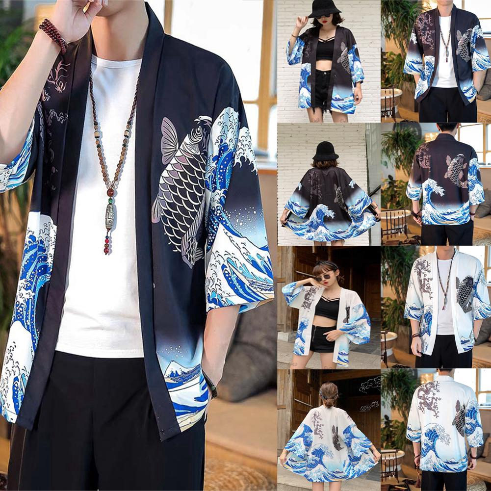 Japan Style Print Vintage Blouse Tops Summer Spring Men Women Casual Shirts Short Sleeve Kimono Shirts Shopee Malaysia