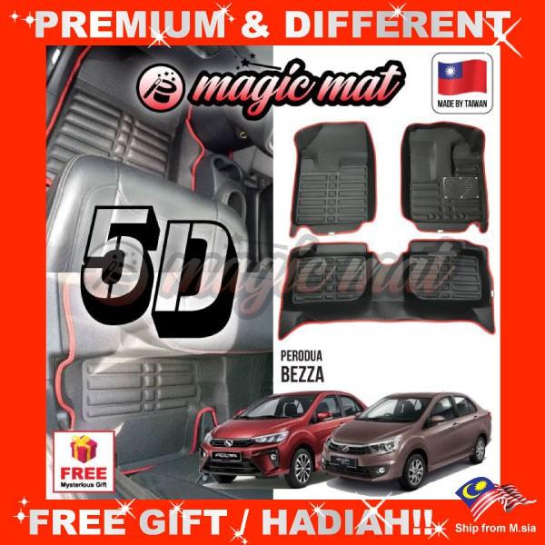 [FREE GIFT Gift] PERODUA BEZZA (5 Seater) MAGIC MAT 5D OEM PU Leather Floor Mat Anti-Slip Easy Clean Carpet