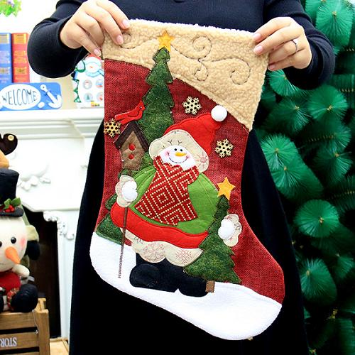 Embroidered Christmas Stockings.Snowman Christmas Stocking With Magnificent Embroidery