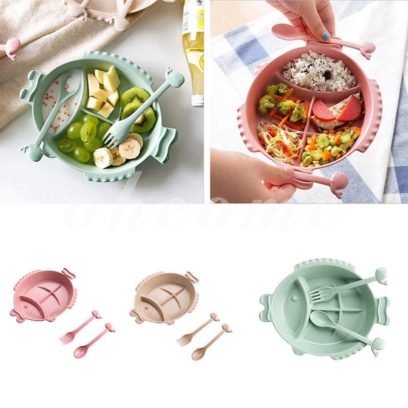 Baby Feeding Bowl Fish-Shaped Set Food Tableware Divided Dinner Dish Plate