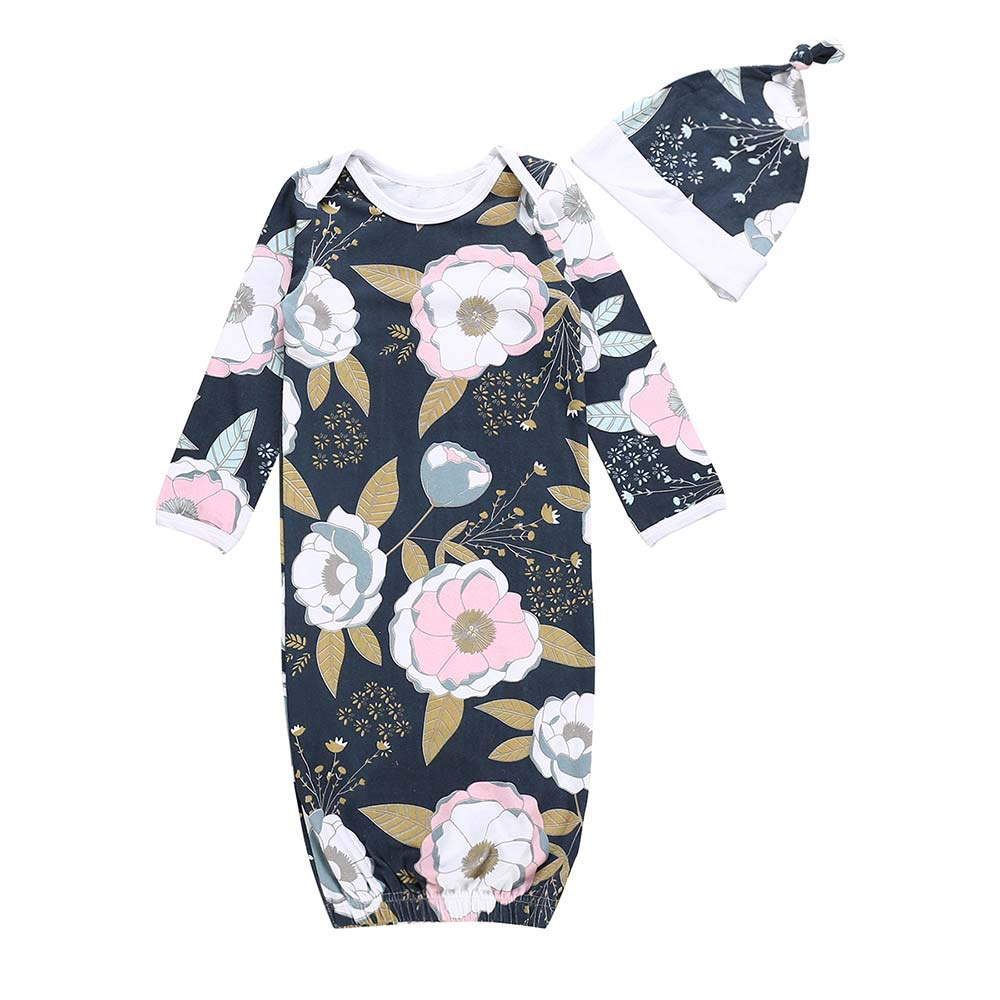 Newborn Infant Baby Girls Floral Nightgown Sleepwear Sleeping Bag Coming Home Outfits+Headband