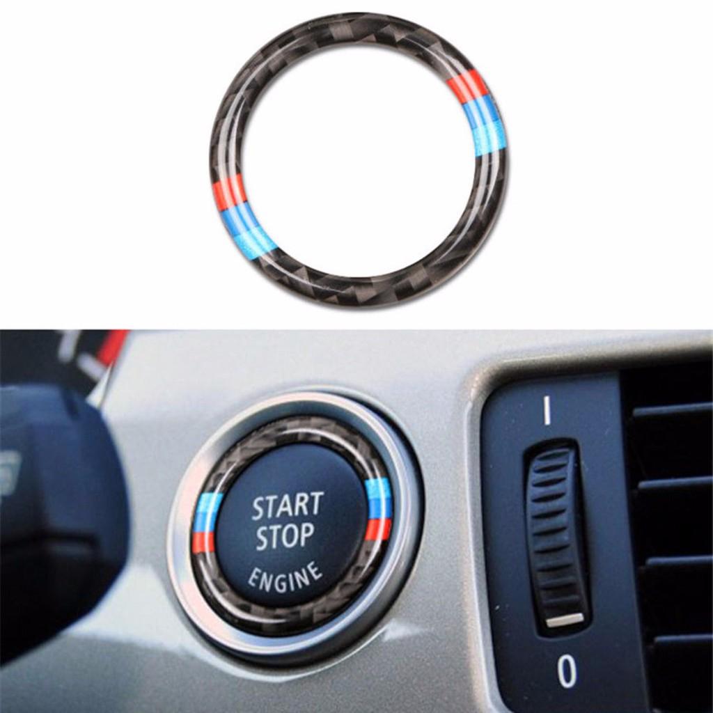 Carbon Fiber Car Engine Start Stop Button Ring Trim for BMW E90 E92 E93