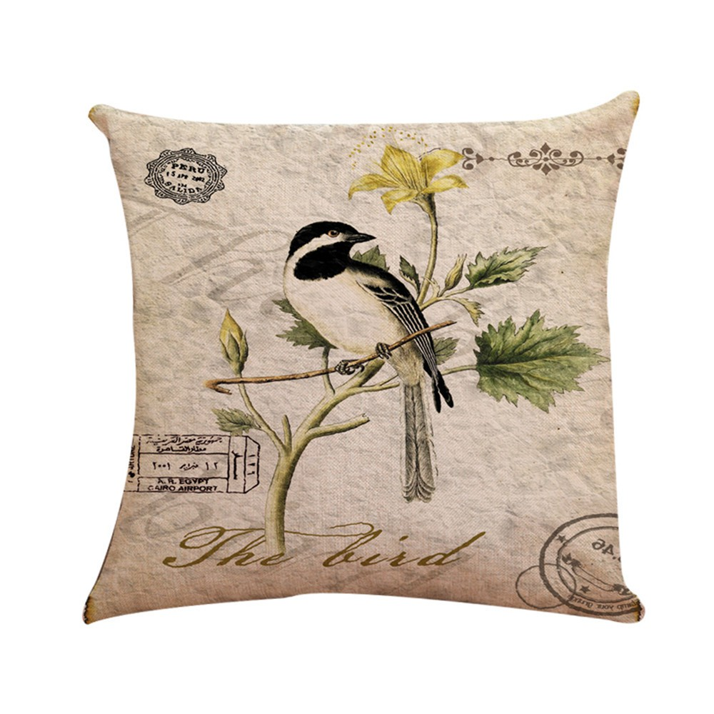 Fashion Magpie Bird Cotton Linen Throw Pillow Case Cushion Cover Home Sofa Decor