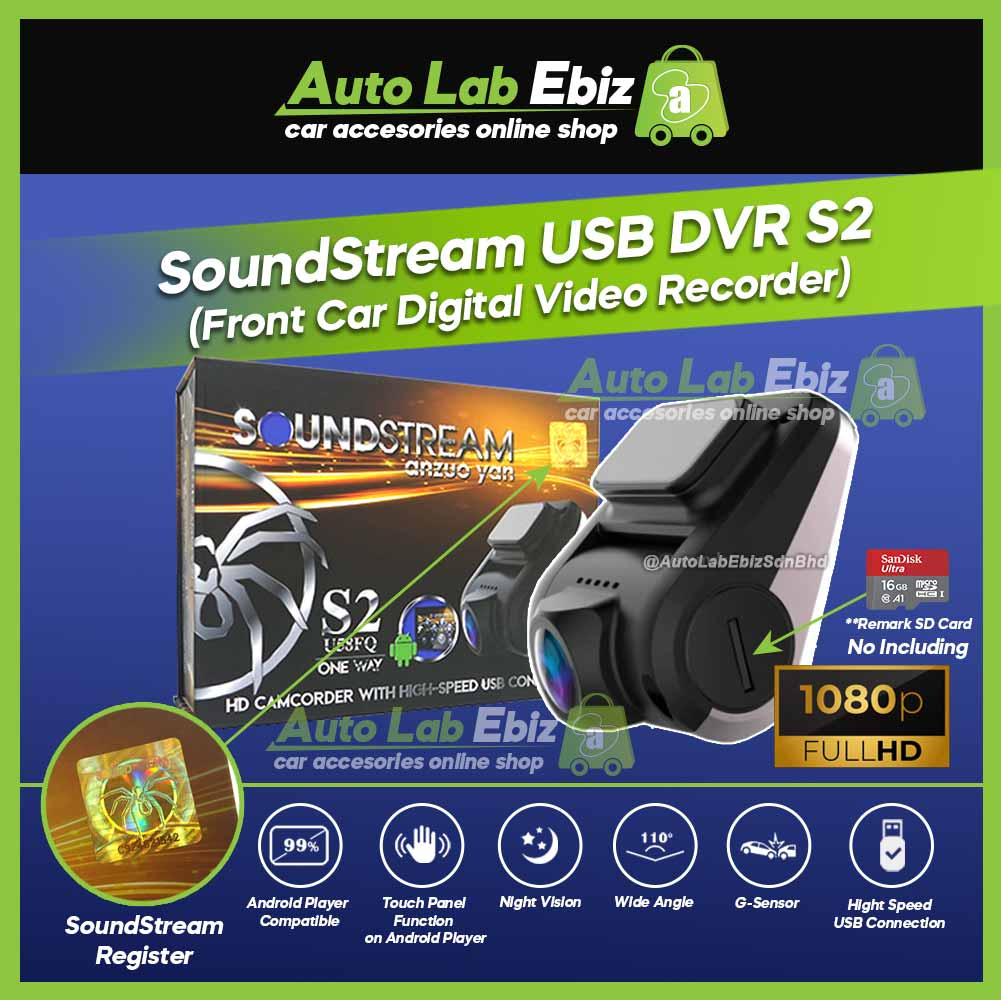 SoundStream USB Front DVR Car Camera HD Driving Video Recorder S2 for Android Player