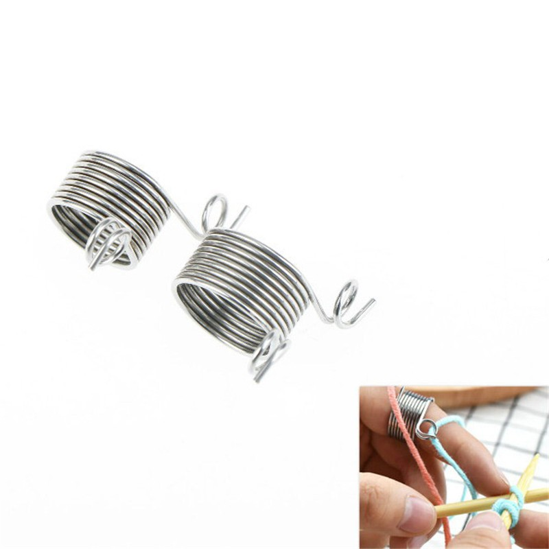 Wear Crafts Knitting Tools Yarn Spring Guides  Stainless Steel Thimble Ring