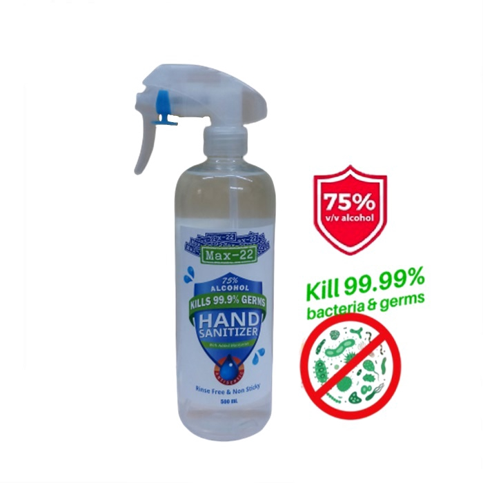 Max-22 Instant Hand Sanitizer Liquid Fast killing bacteria up to 99.9% (500ML)