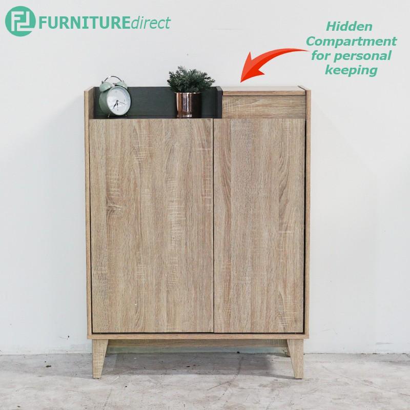 HELSINKI 2 door shoe cabinet with hidden compartment-Oak/ rak kasut