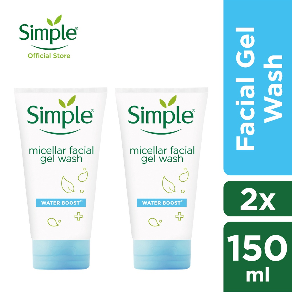 Simple Water Boost Micellar Facial Gel Wash 150ml x 2