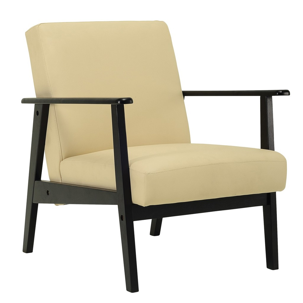 Telford single seater in Black colour frame, Cream colour Vinyl cushion/ single sofa