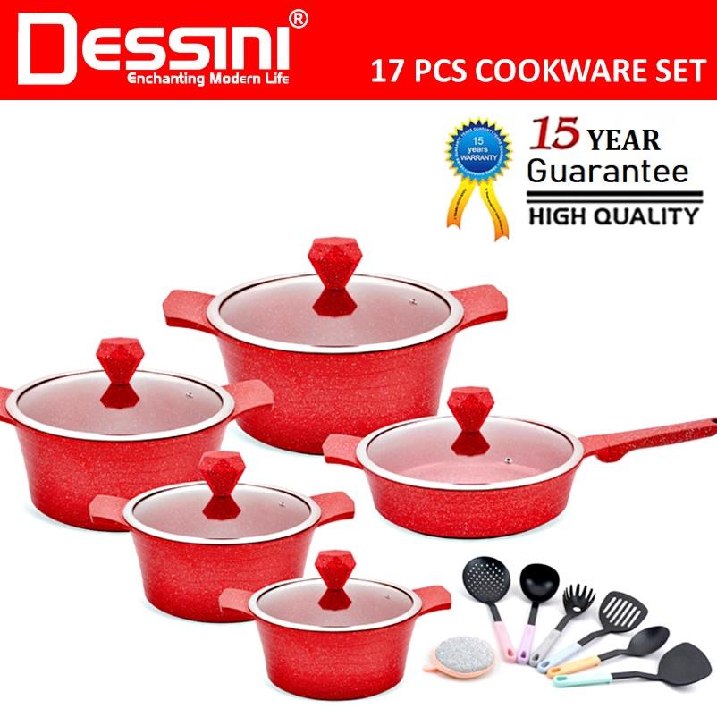 DESSINI ITALY 17 Pcs Induction Casserole Die Cast Aluminium Non Stick Pot Bowl Double Side Pan Cookware Cover PERIUK