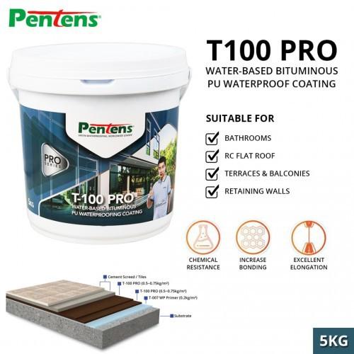 Pentens T-100 Pro Water-Based Bituminous PU Waterproofing Coating - 5KG