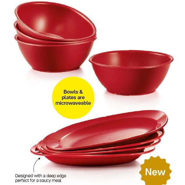 [ORI] Tupperware Royal Red Bowls 700ml / Royal Red Dining Plates 390ml