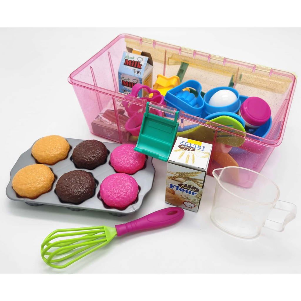 BAKEWARE PLAY SET WITH CARRY BOX FOR KIDS ( 33PIECE) ( GIRL KITCHEN PLAY SET )