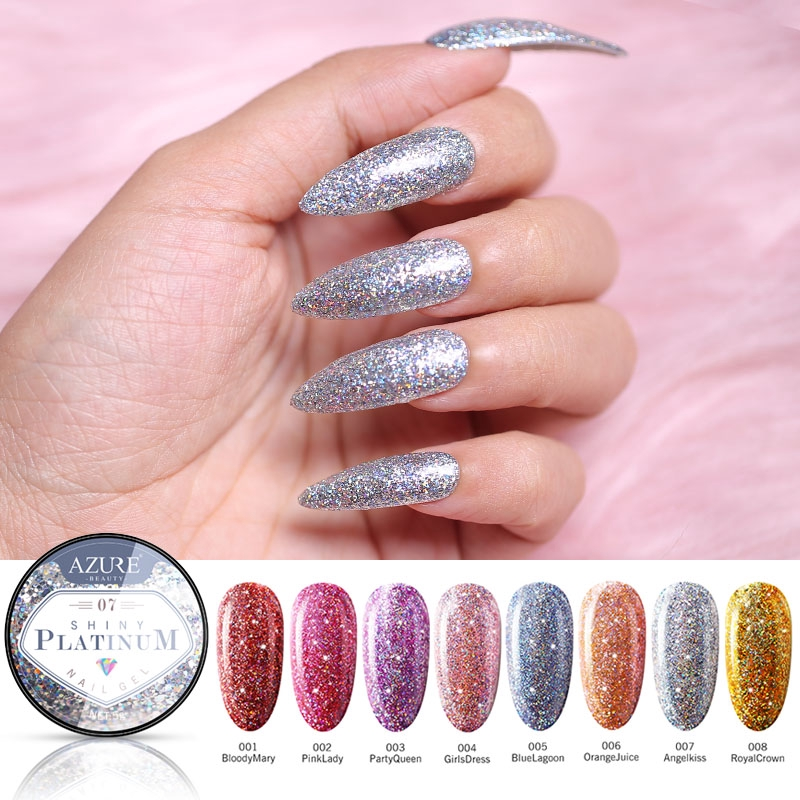 Hybrid Varnish Gel Nail Polish Fashion Glitter Platinum Nail Gel Painting  Nail Art UV Gel Lacquer 8 Colors