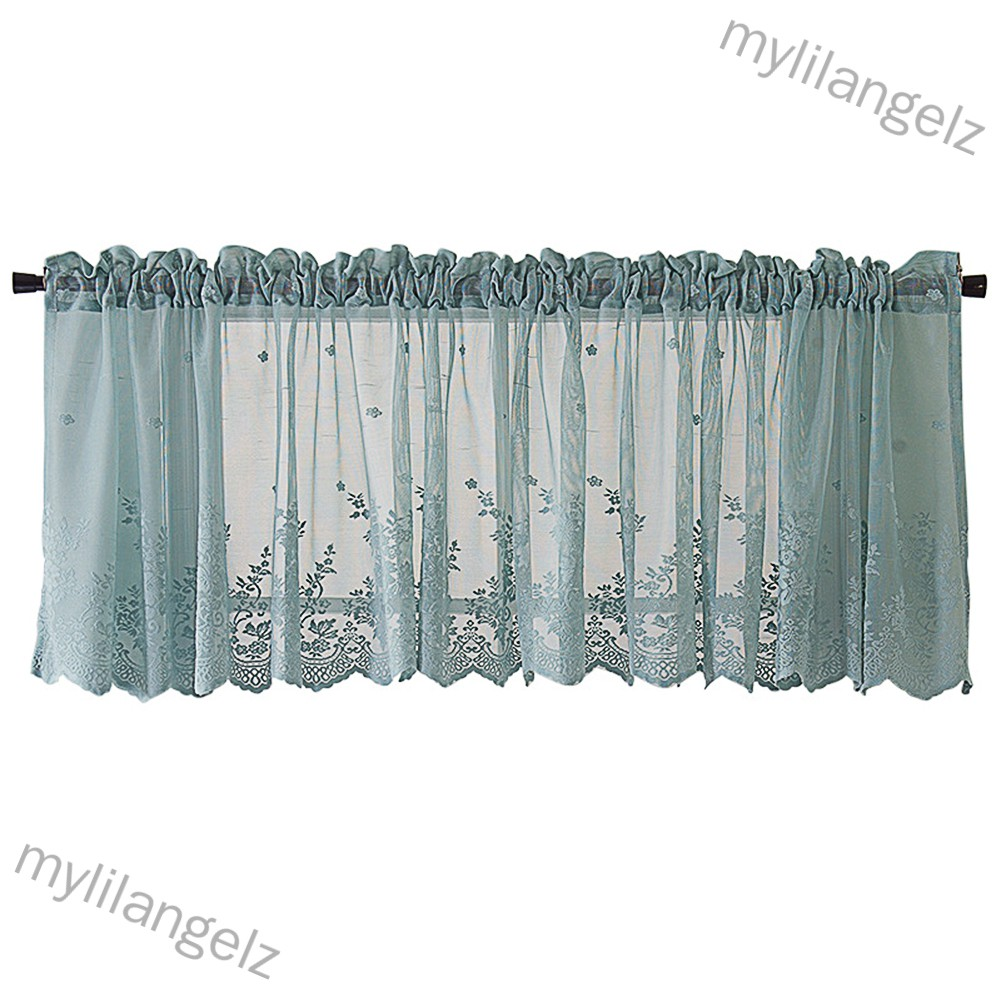 Mylilangelz Modern Lace Hem Roman Short Window Curtain for Coffee Kitchen Cabinet Home Decor
