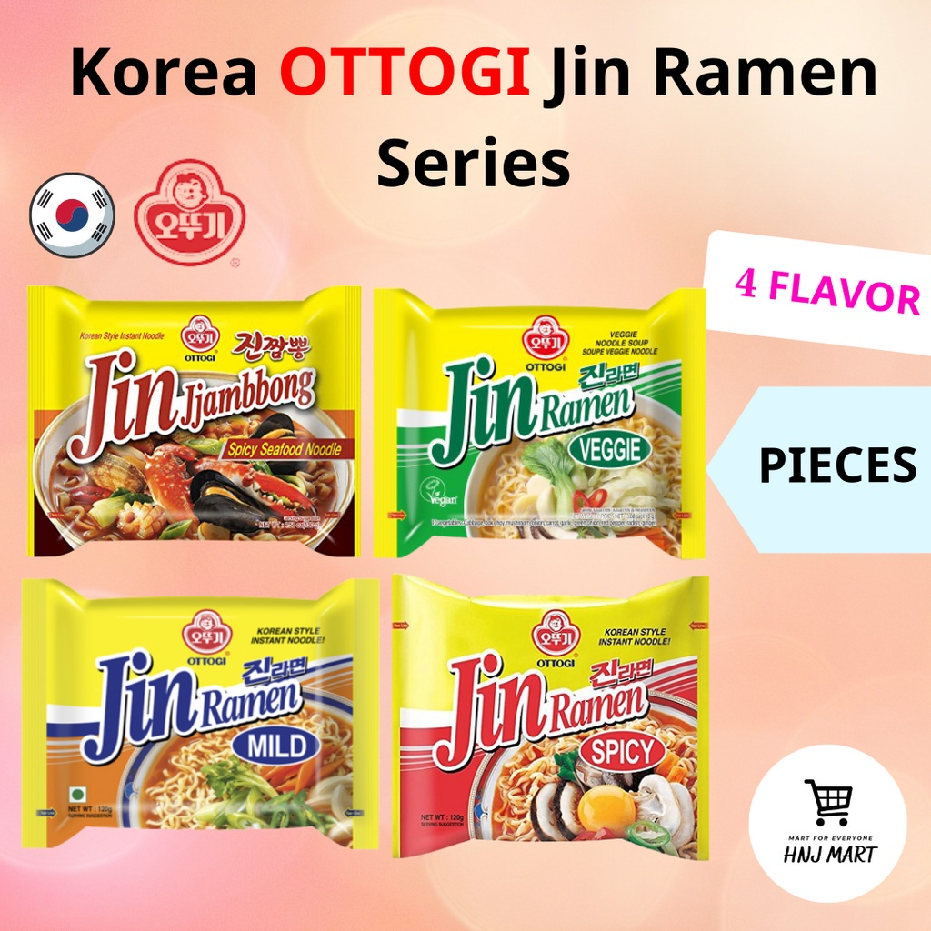 Korea Ottogi Jin Ramen Series 4 Flavor Piece [Jin Jjambbong Jjambong Jjampong/Jin Veggie/Jin Mild/Jin Hot] 韩国不倒翁拉面