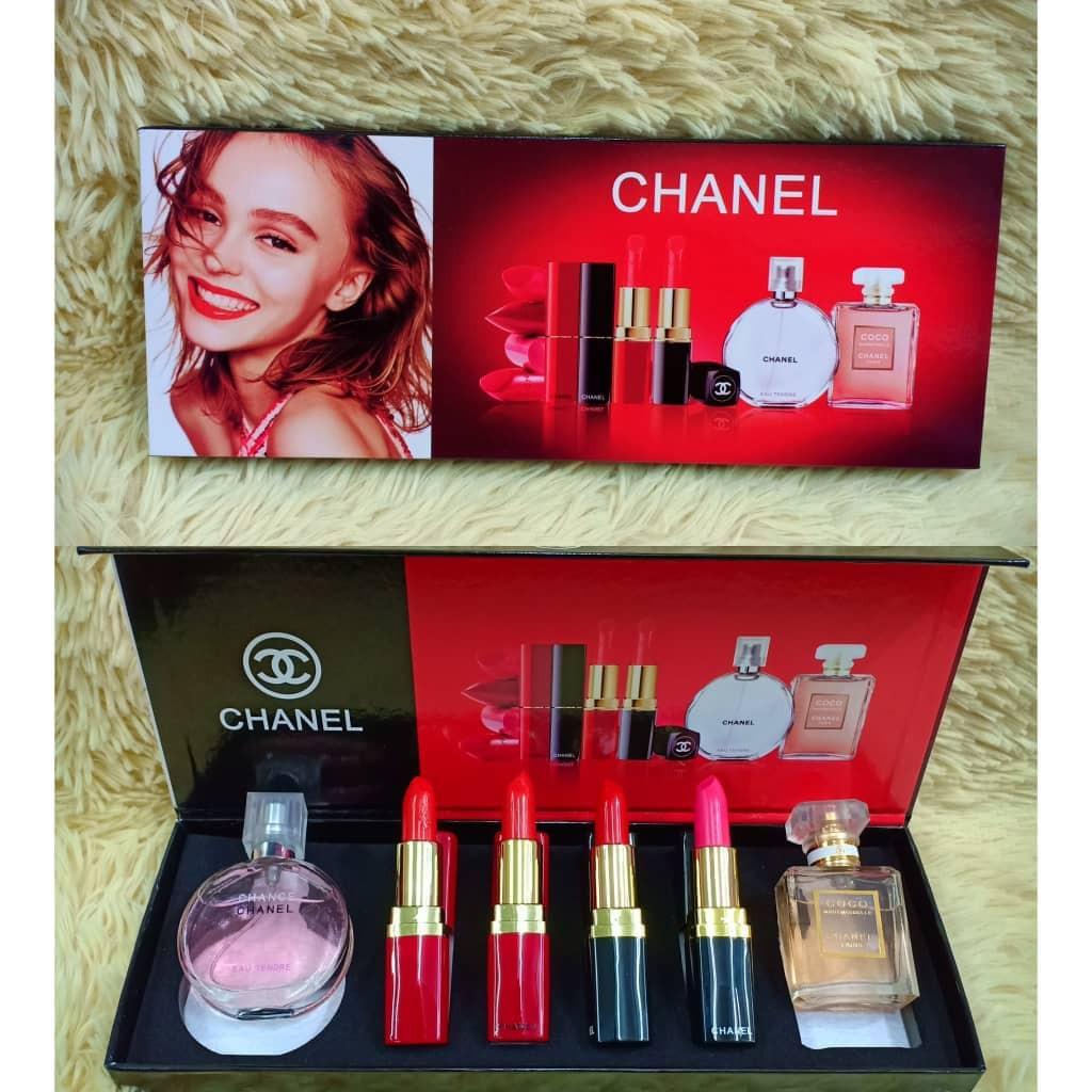 Chænel 6 in 1 Lipstick & Perfume set