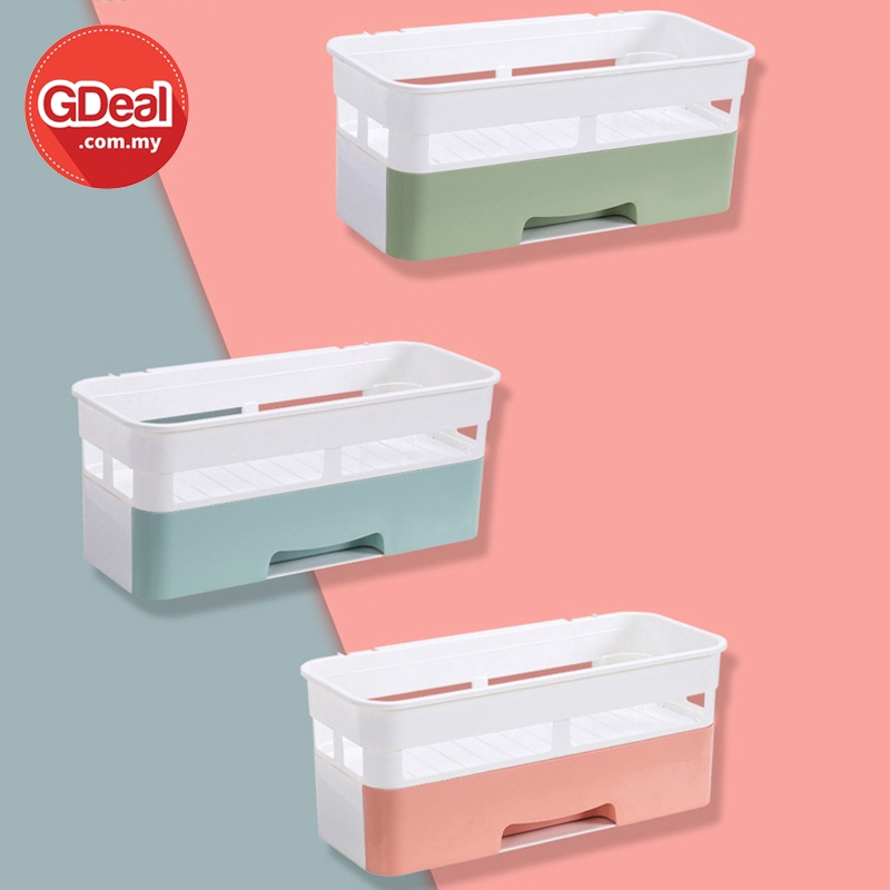 GDeal Top Nordic Style Punch Free Plastic Bathroom Shelf Wall Hanging Toiletries Holder Storage Rack With Drawer