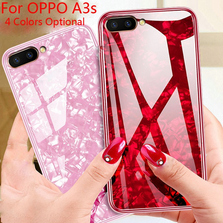 cheap for discount 9094a 4376d For OPPO A3s Fariy Shells Tempered Glass+TPU Backcover Protective Phone Case