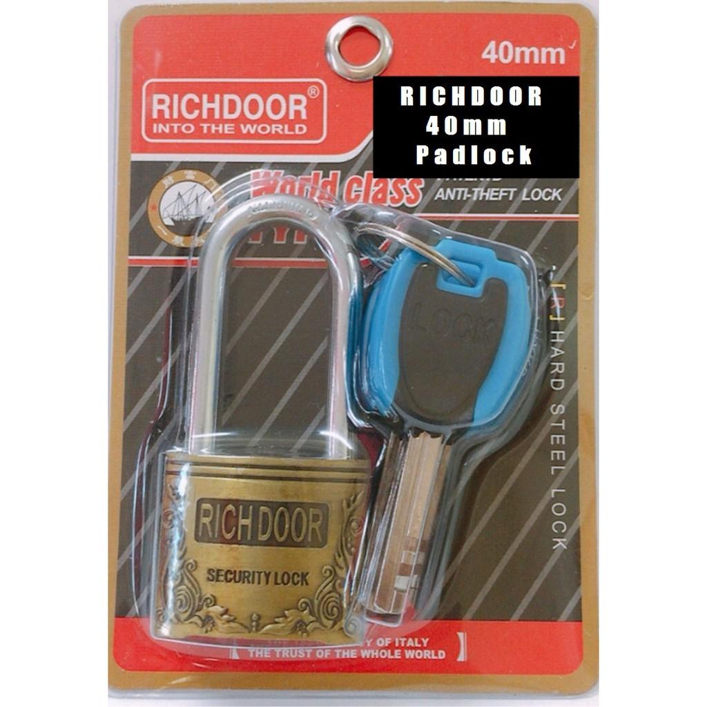 RICHDOOR Zinc Alloy Bronze Long Head Pad Lock Anti Cut Anti Rust Premium Quality Pad Lock 40mm
