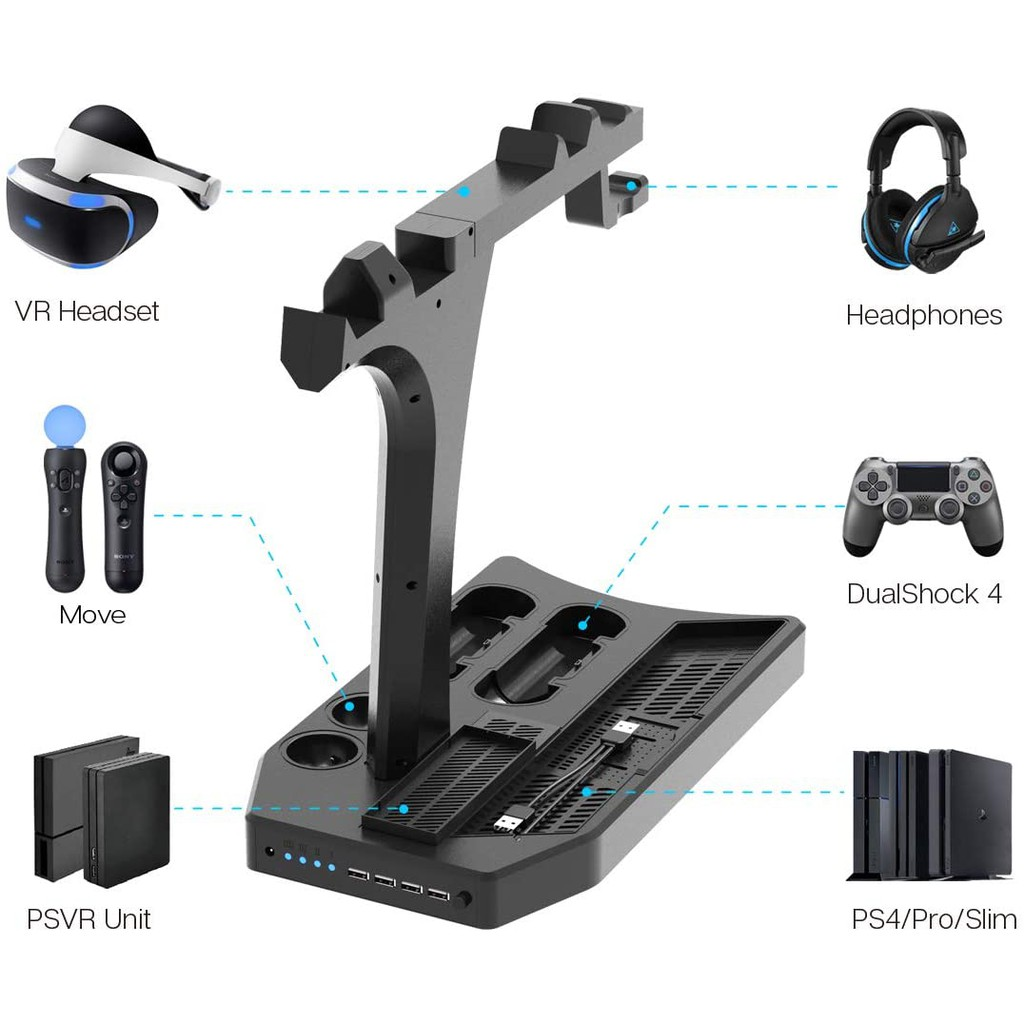 PlayStation Vertical Stand - ElecGear PS4 Charging Station, Cooling Fan Cooler, PSVR Headset Storage Holder, Charger Doc