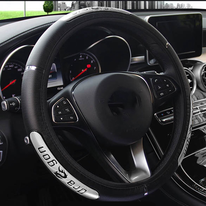Faux Leather DIY Car Steering Wheel Cover With Needle Thread Anti-Slip 38cm//15/'/'