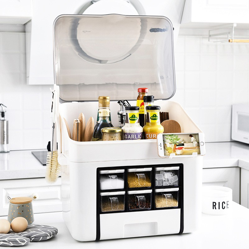 GDeal Large Capacity Countertop Seasoning Storage Box Kitchen Supplies Condiments Organizer