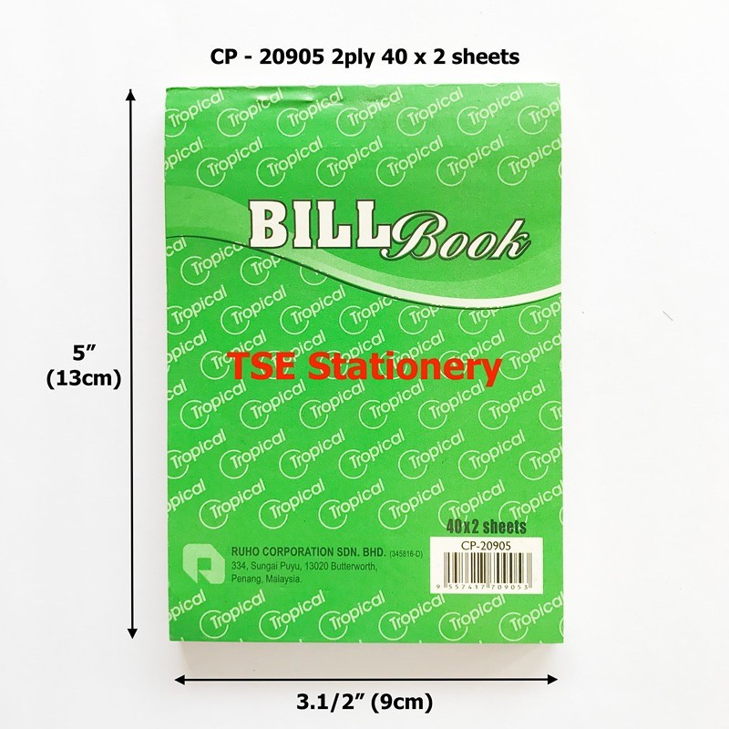 Tropical 1ply / 2ply / 3ply Small Bill Book Receipt Book / Invoice / Cash Bill/ Buku Resit CP20927 CP20905 CP20924