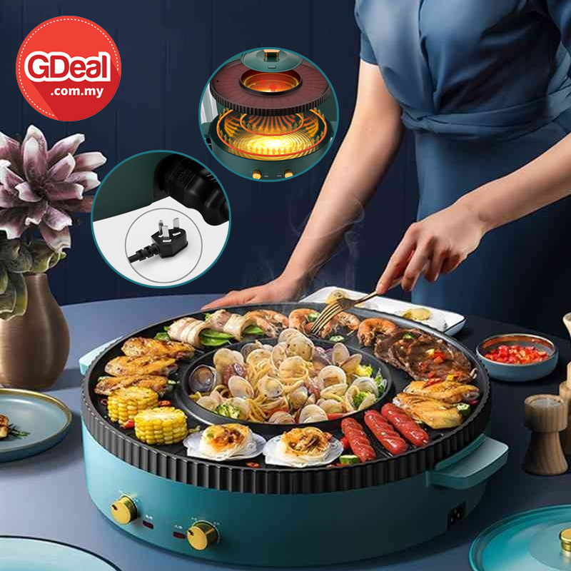 GDeal Multi Functional Electric Hot Pot Grilling Steamboat Barbeque Dinner Frying Pot