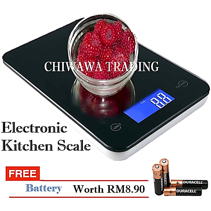Electronic Digital Kitchen Weighing Scale Measurement Scale 5kg 5000g (Black)