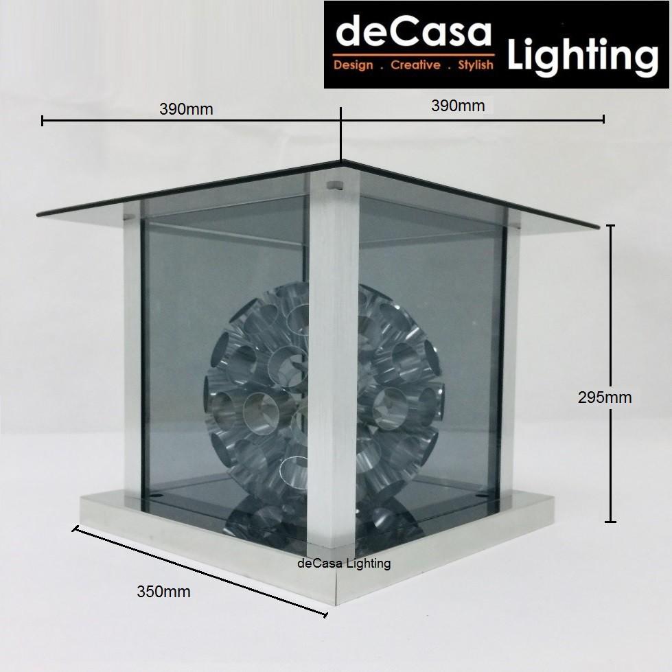 DECASA LIGHTING 400mm (Set With Led Bulb) Modern Glass Effect Outdoor Pillar Light Gate Lamp E27 Lampu Pagar (6721-400)