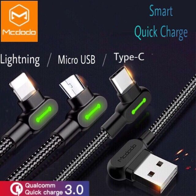 MCDODO 0 5m 1 2m 1 8m 3m Cable Game Fast Charging For IPhone/Micro  USB/Type-c