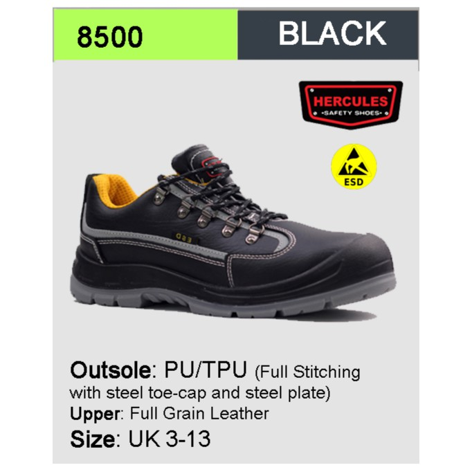 8d91501e8b5 Hercules ESD Safety Shoes Safety Boot Cow Leather SIzes 3-13 8500