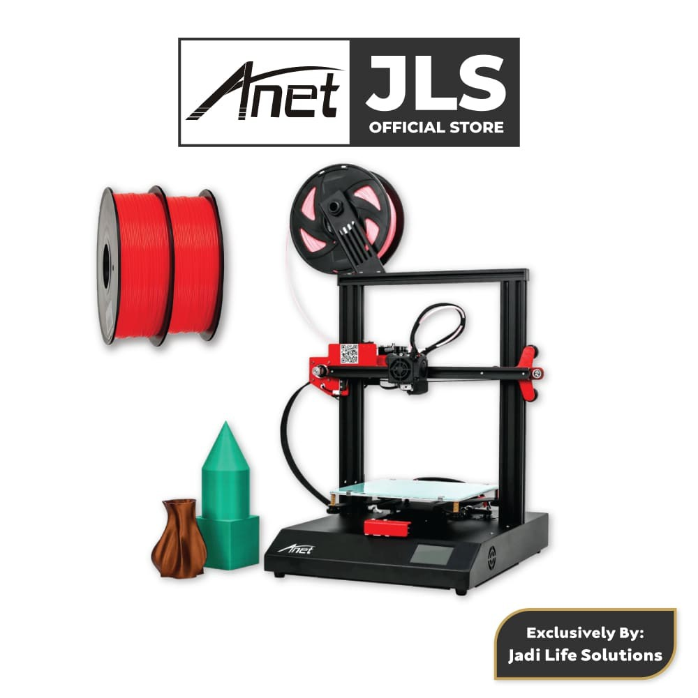 Anet ET4 All-Metal 3D Printer With Industrial Grade Chipset + 2x Red PLA
