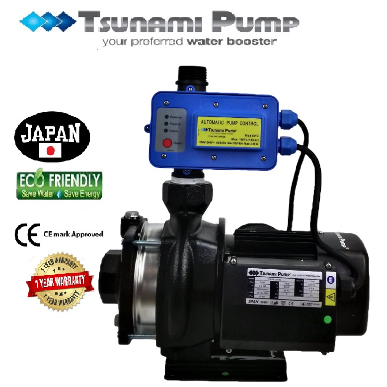 Tsunami CMH8-20-K2  Horizontal Multi-Stage Pump Water Pressure Pump Booster Suitable for Hotel & Motel 【1 Year Warranty】