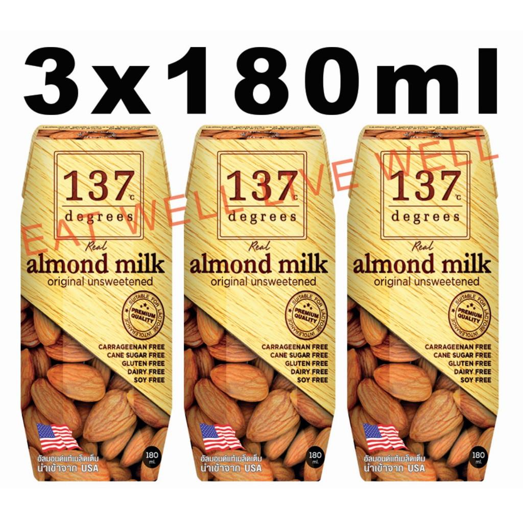 137 Degrees Almond Milk Unsweetened 3 x 180ml