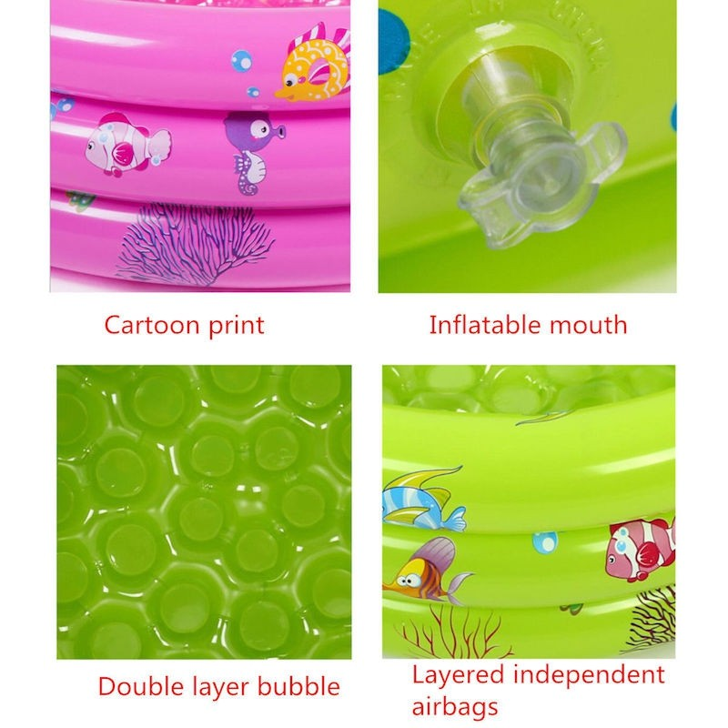 (L) 100 x (H) 40cm Inflatable 3 Rings Round Swimming Pool Family Children Kids Kid Baby Home Toy Game Bath Basin Showeri