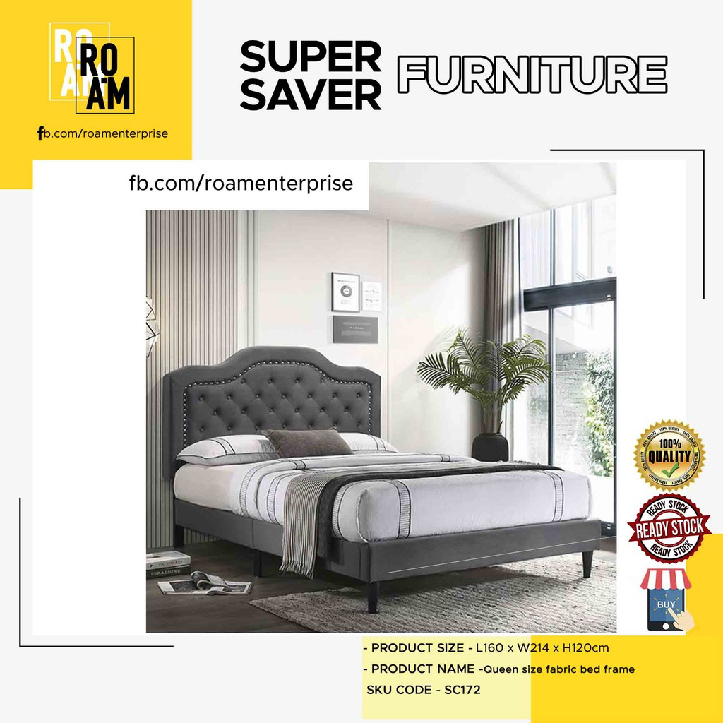 CHARLIE queen size fabric bed frame katil bed frame queen solid wood frame - Grey Color