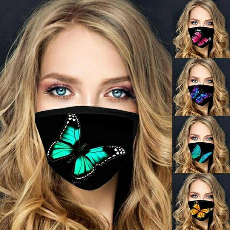 3D Eye-catching Gold Butterfly Printed Face Mask Washable Polyester Cotton Reusable Artist-Designed