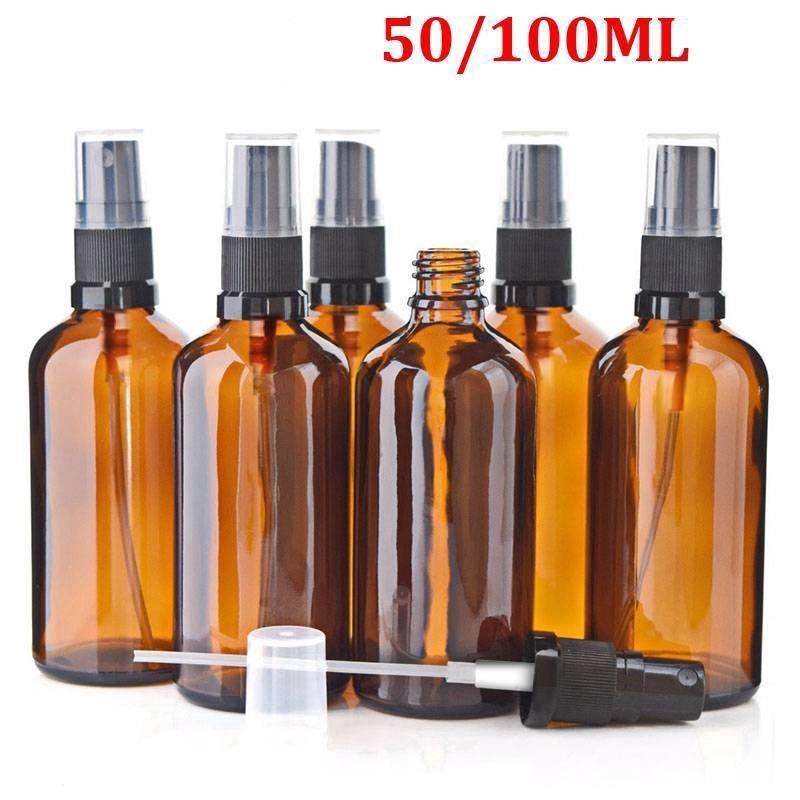 caaf145c848a 1-5PCS 50/100ml Amber Glass Spray Bottle Container Perfume Essential ...