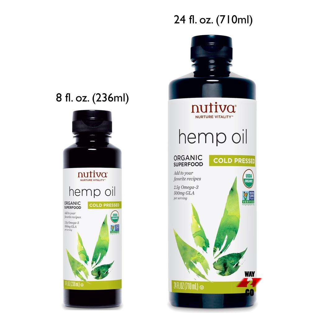 ✅READY STOCK✅ Nutiva Organic Superfood Hemp Seed Oil Cold Pressed 236 / 710  ml