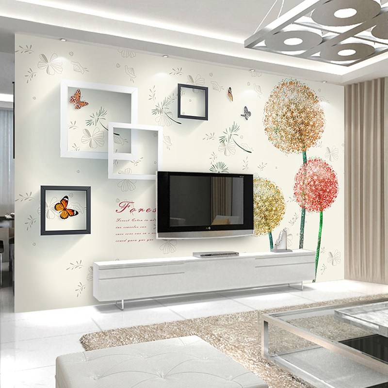 Modern Simple Tv Background Wall Sticker For Living Room 3d Dandelion Wallpaper Bedroom 5d Mural Wall Cloth Shopee Malaysia