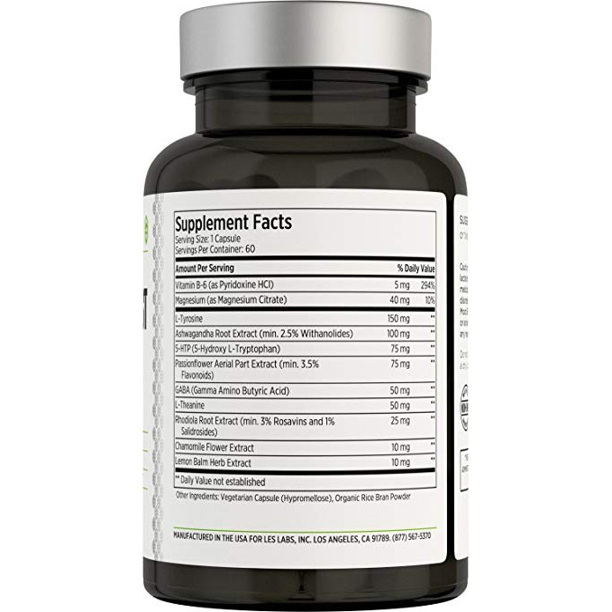 LES Labs Mood Boost Natural Supplement for Stress and Anxiety Relief 60  Capsules
