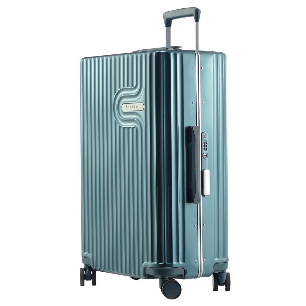 df4ef9d35 UNIWALKER Retro Blue Vintage luggage PU Trunk Spinner Suitcase with TSA  Lock | Shopee Malaysia