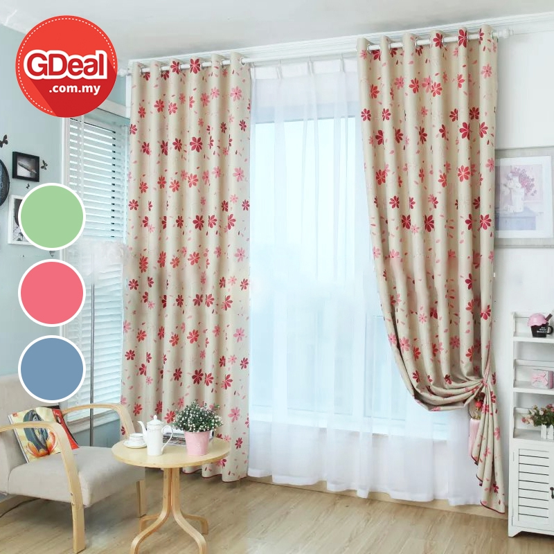 GDeal【Thick Curtains】Ring Eyelet Home Blackout Curtain Sweet Flower Curtains Langsir 100cmx130cm