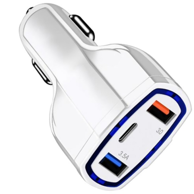 3-in-1 Car Phone Charger QC3.0 Car Charger Dual USB With Type-C