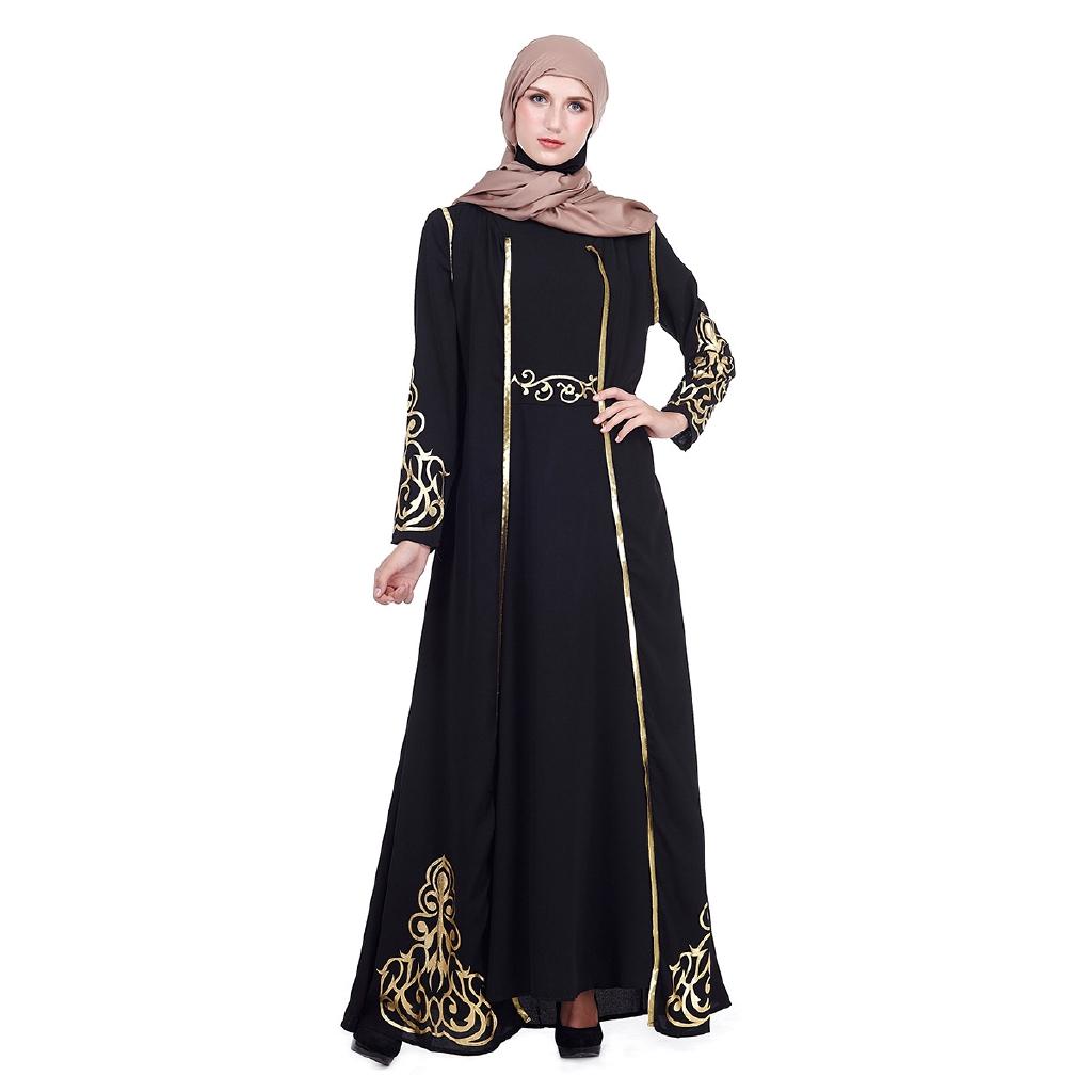 1ae28f7431773 Two pieces Jilbab Dubai female Muslim Islamic dressElegant Muslimah Hot  stamping abaya Turkish Singapore full length