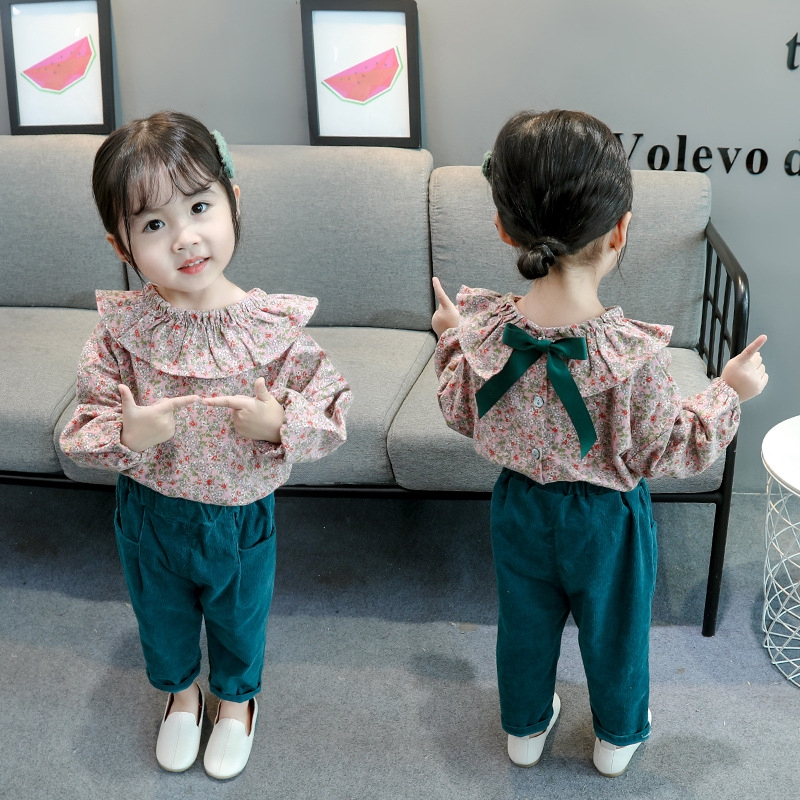 2pcs cotton kids baby infant Girls tops pants Outfits spring autumn clothing